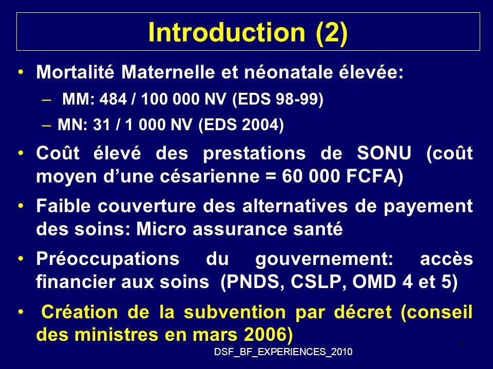 Introduction (2) Mortalité Maternelle et néonatale élevée: