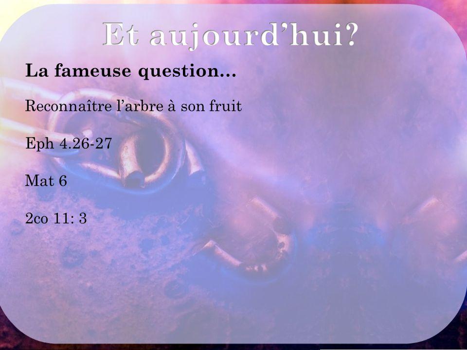 Et aujourd'hui La fameuse question… Reconnaître l'arbre à son fruit