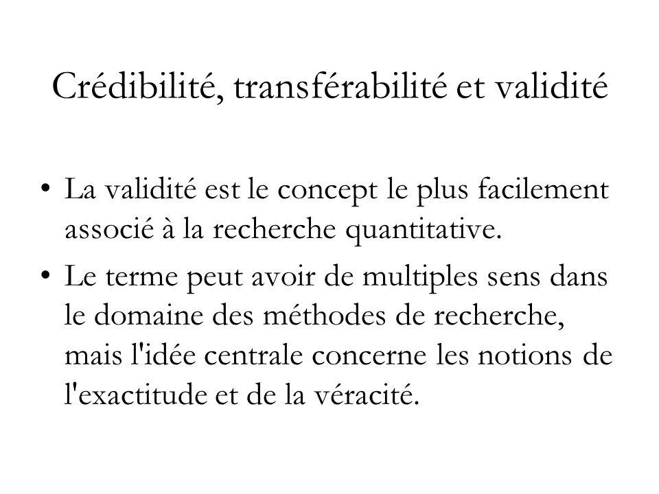 Crédibilité, transférabilité et validité