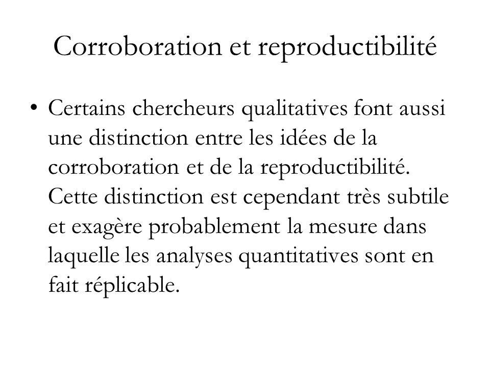 Corroboration et reproductibilité