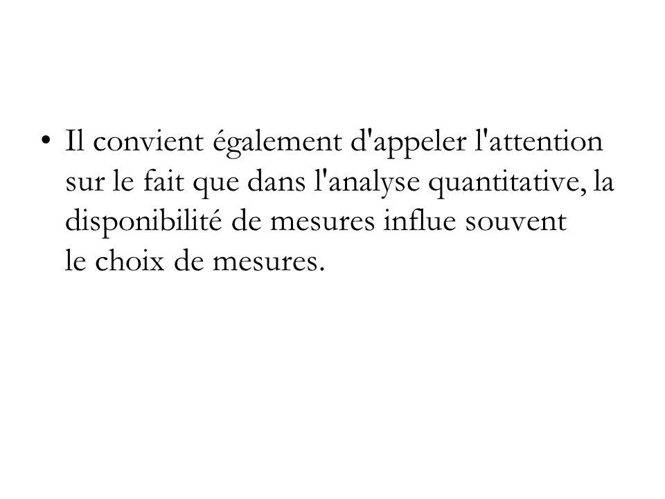 Il convient également d appeler l attention sur le fait que dans l analyse quantitative, la disponibilité de mesures influe souvent le choix de mesures.
