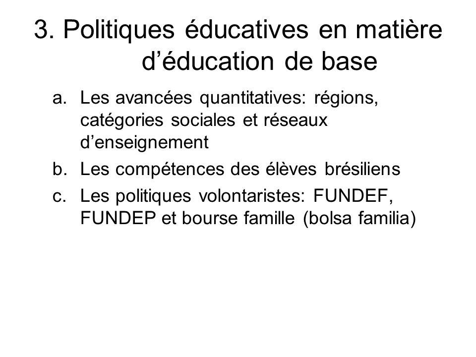 3. Politiques éducatives en matière d'éducation de base