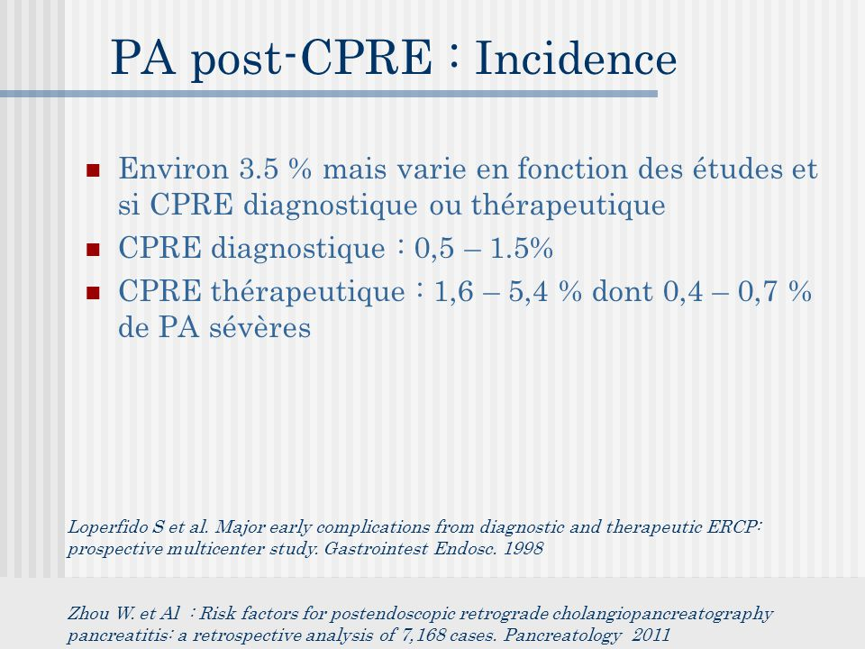 PA post-CPRE : Incidence