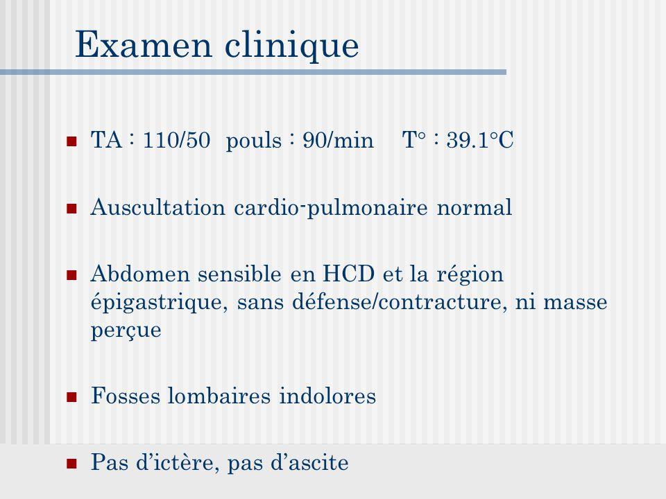 Examen clinique TA : 110/50 pouls : 90/min T° : 39.1°C