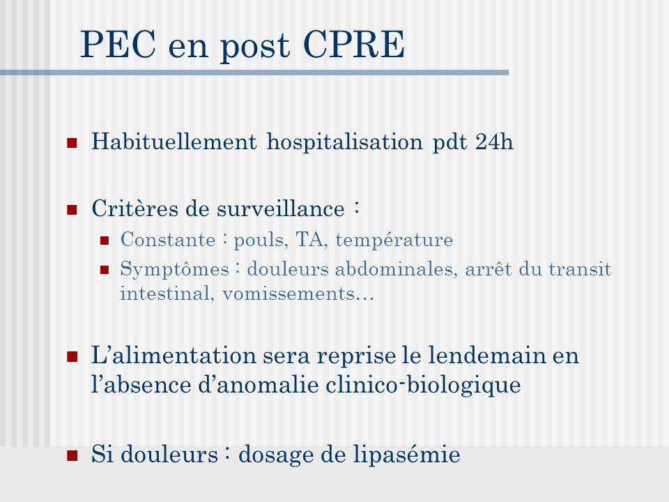 PEC en post CPRE Habituellement hospitalisation pdt 24h. Critères de surveillance : Constante : pouls, TA, température.
