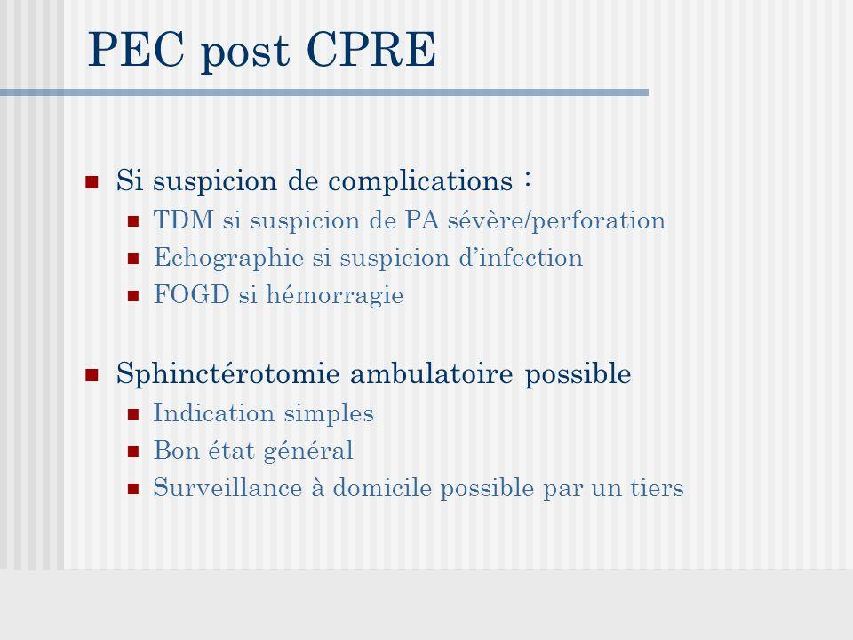 PEC post CPRE Si suspicion de complications :