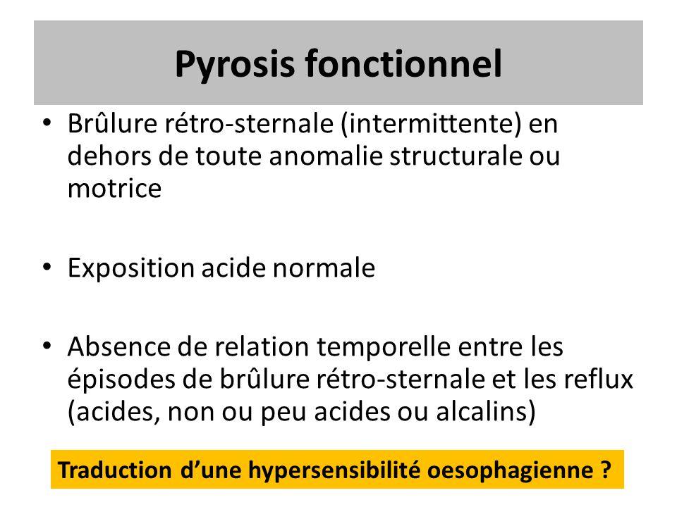 Pyrosis fonctionnel Brûlure rétro-sternale (intermittente) en dehors de toute anomalie structurale ou motrice.