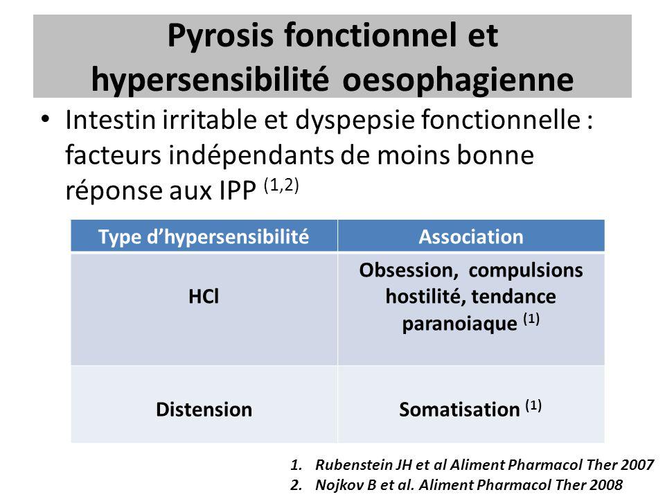 Pyrosis fonctionnel et hypersensibilité oesophagienne