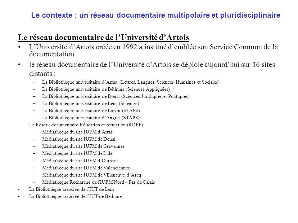 Le réseau documentaire de l'Université d'Artois