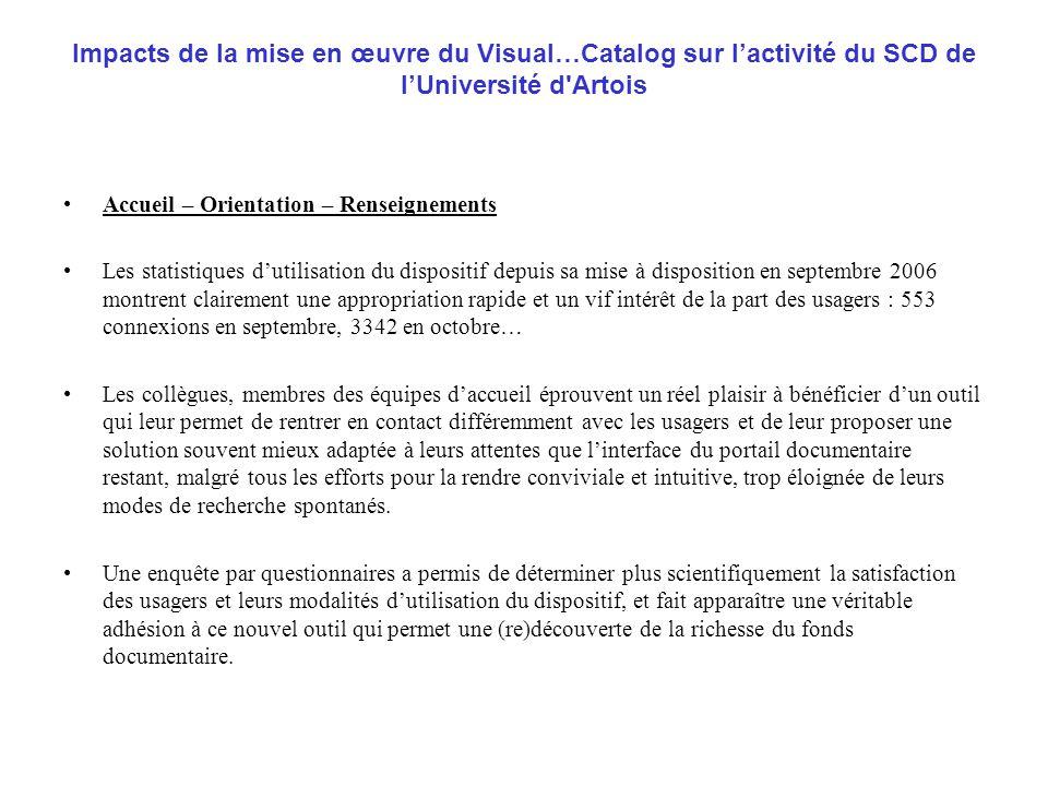 Impacts de la mise en œuvre du Visual…Catalog sur l'activité du SCD de l'Université d Artois
