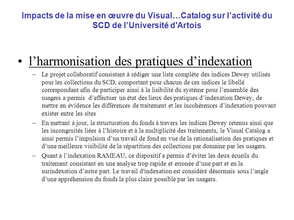 l'harmonisation des pratiques d'indexation