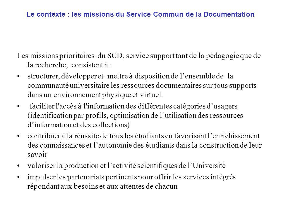 Le contexte : les missions du Service Commun de la Documentation