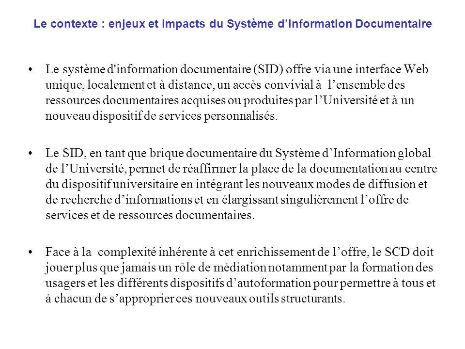 Le contexte : enjeux et impacts du Système d'Information Documentaire
