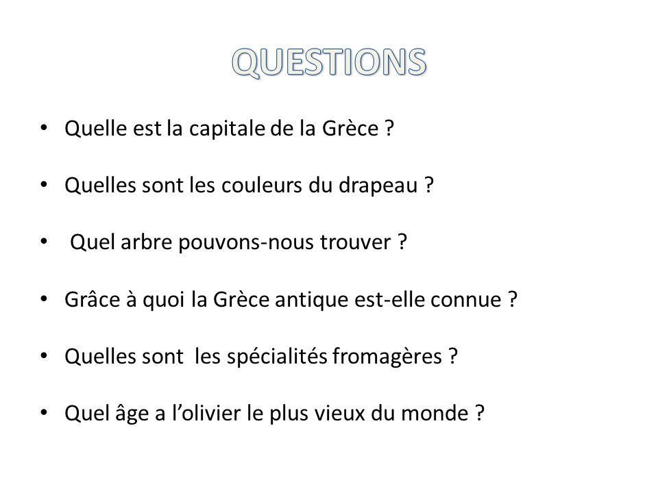 QUESTIONS Quelle est la capitale de la Grèce