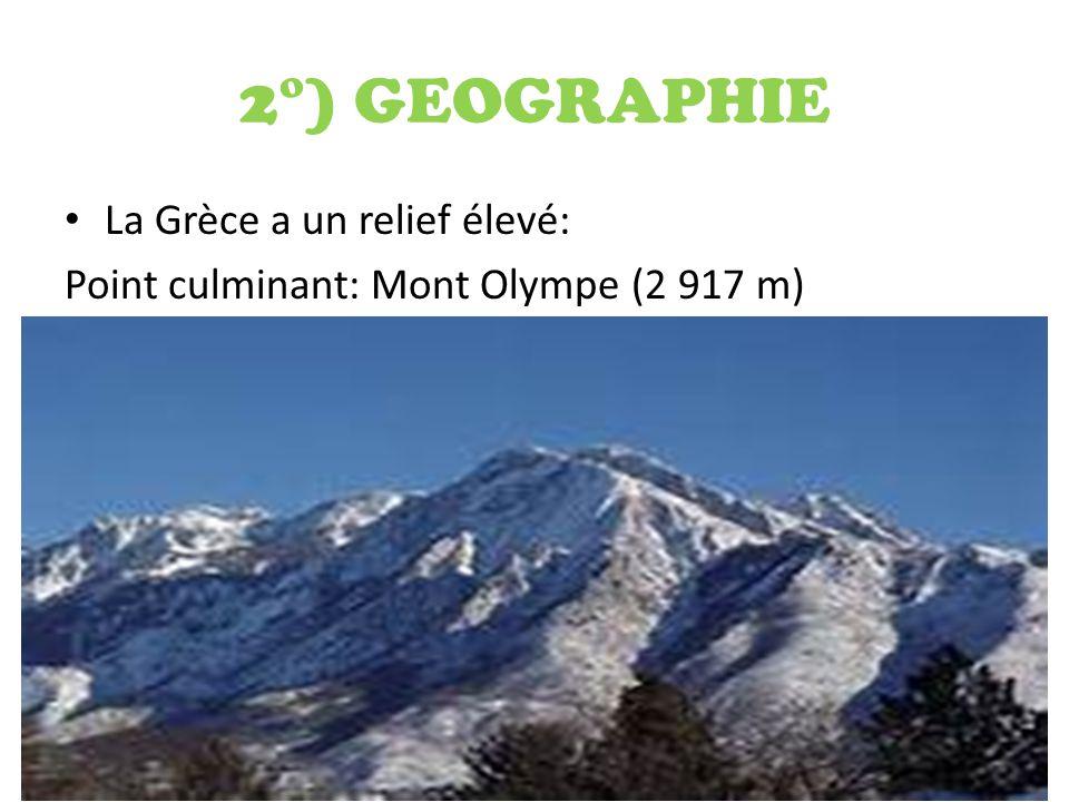 2°) GEOGRAPHIE La Grèce a un relief élevé: