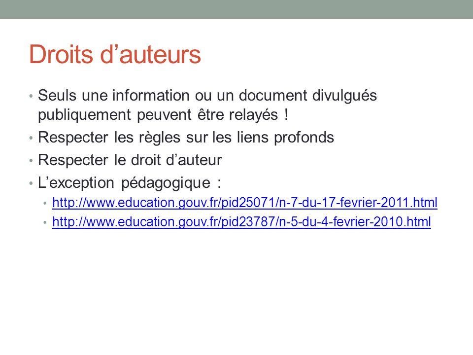 Droits d'auteurs Seuls une information ou un document divulgués publiquement peuvent être relayés !