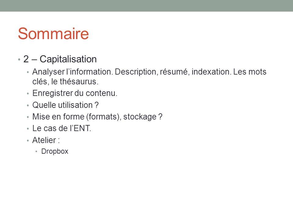 Sommaire 2 – Capitalisation