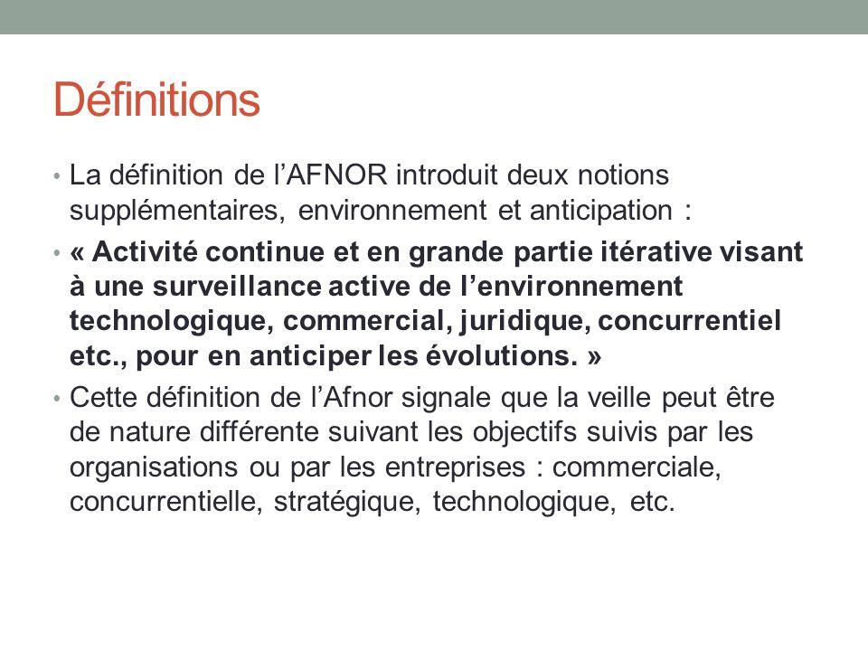 Définitions La définition de l'AFNOR introduit deux notions supplémentaires, environnement et anticipation :