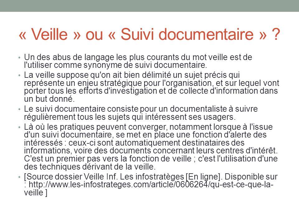 « Veille » ou « Suivi documentaire »