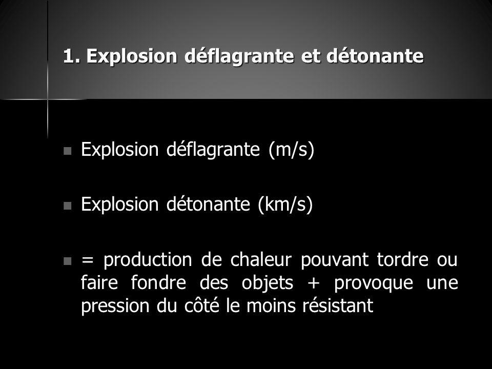 1. Explosion déflagrante et détonante