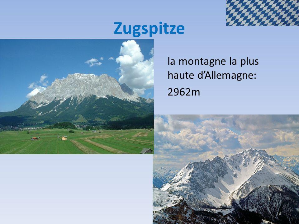 Zugspitze la montagne la plus haute d'Allemagne: 2962m