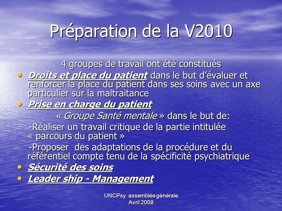 Préparation de la V2010 4 groupes de travail ont été constitués