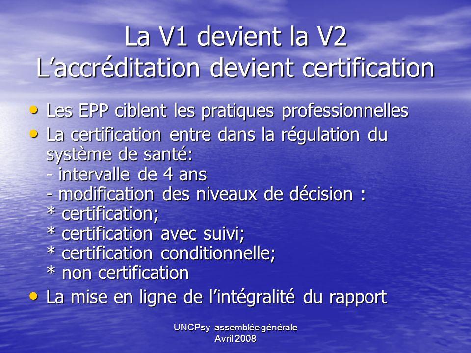La V1 devient la V2 L'accréditation devient certification
