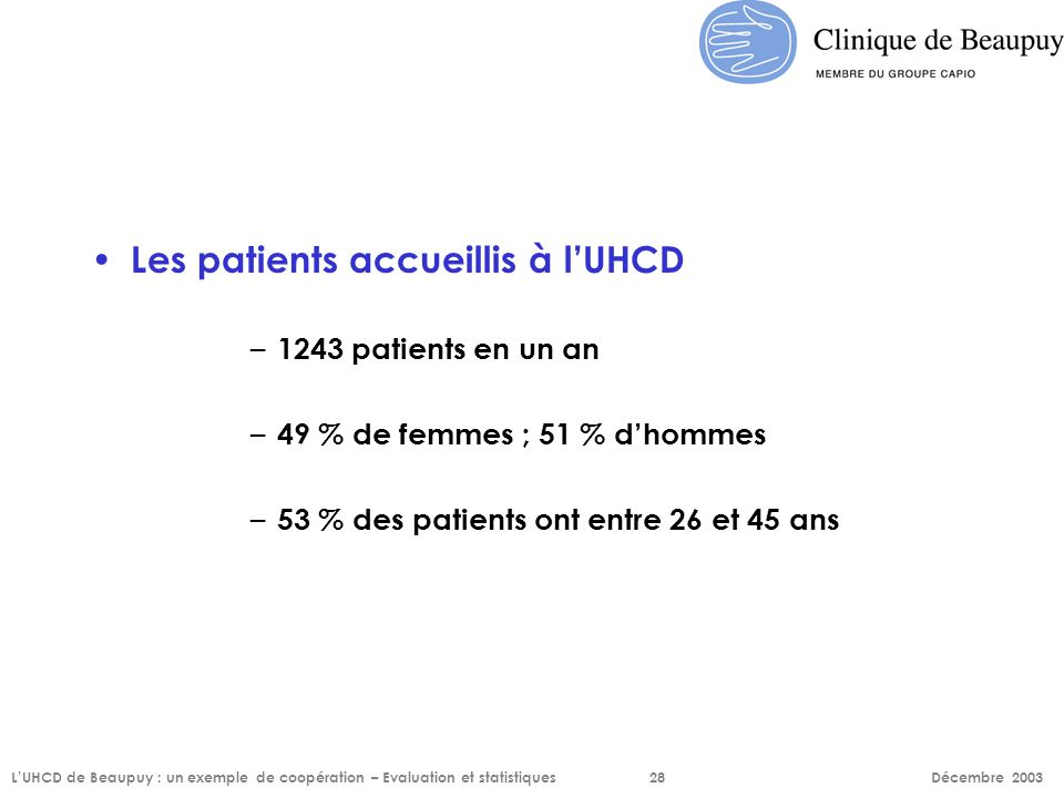Les patients accueillis à l'UHCD