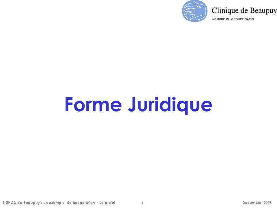 Forme Juridique L'UHCD de Beaupuy : un exemple de coopération – Le projet 6 Décembre 2003.