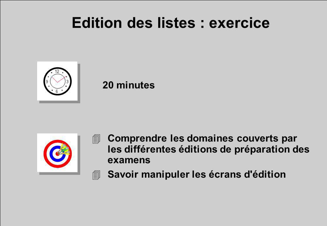 Edition des listes : exercice