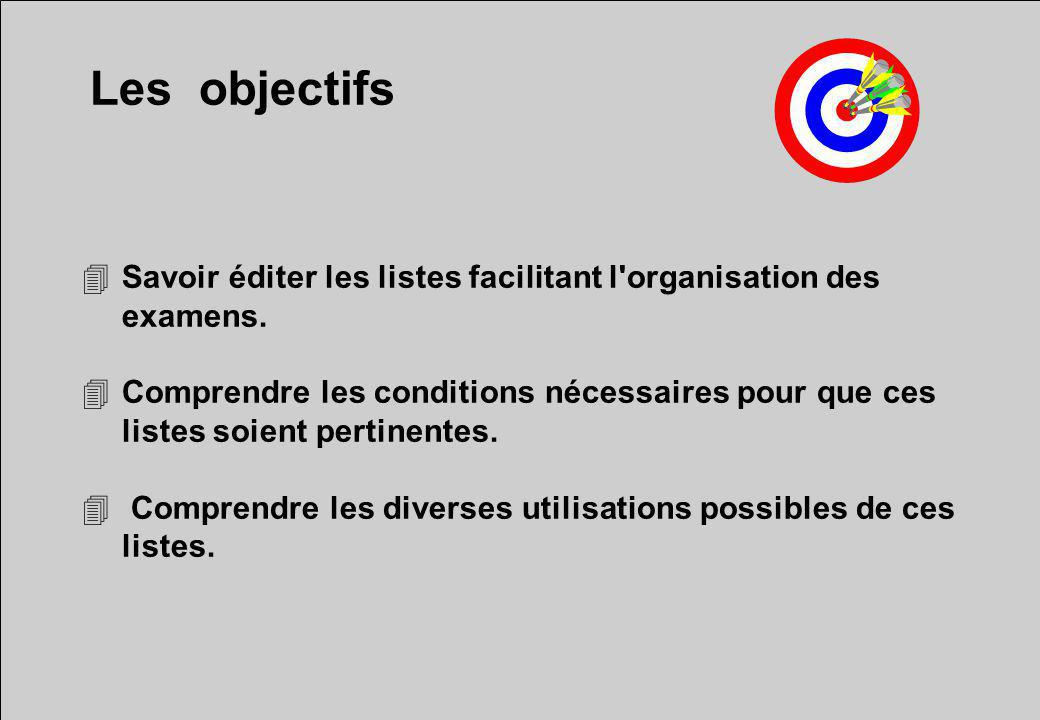 Les objectifs Savoir éditer les listes facilitant l organisation des examens.