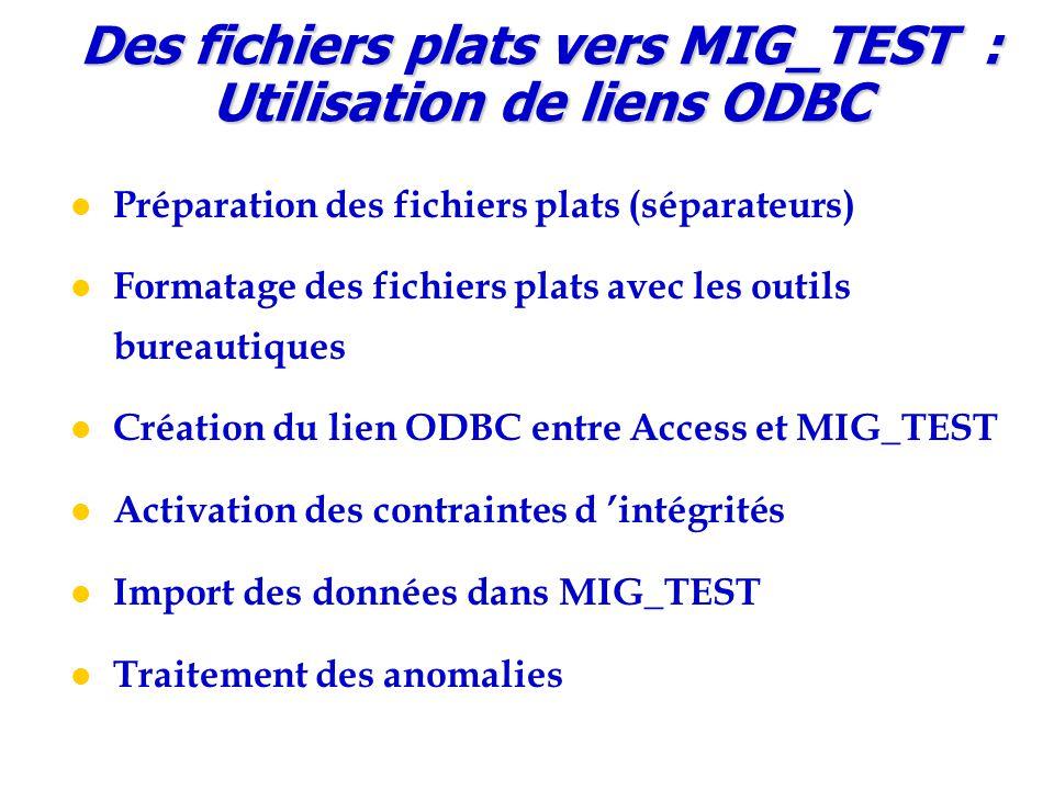Des fichiers plats vers MIG_TEST : Utilisation de liens ODBC