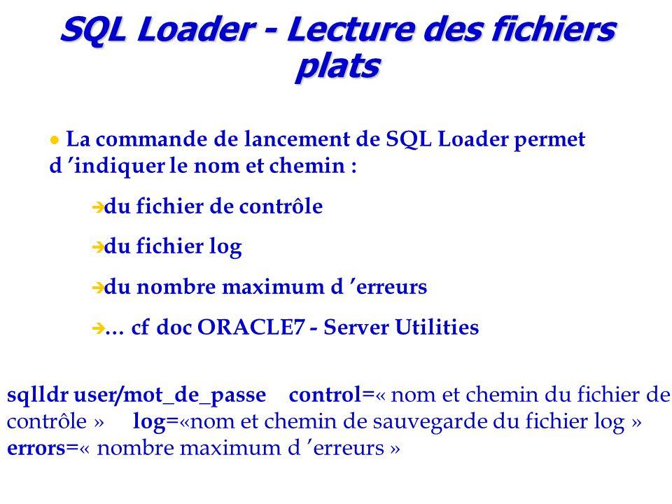 SQL Loader - Lecture des fichiers plats