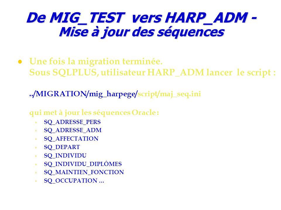 De MIG_TEST vers HARP_ADM - Mise à jour des séquences