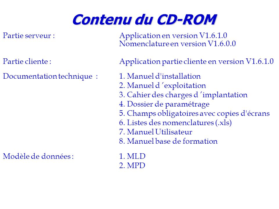 Contenu du CD-ROM Partie serveur : Application en version V1.6.1.0 Nomenclature en version V1.6.0.0.