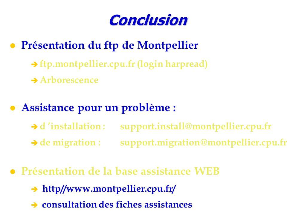 Conclusion Présentation du ftp de Montpellier