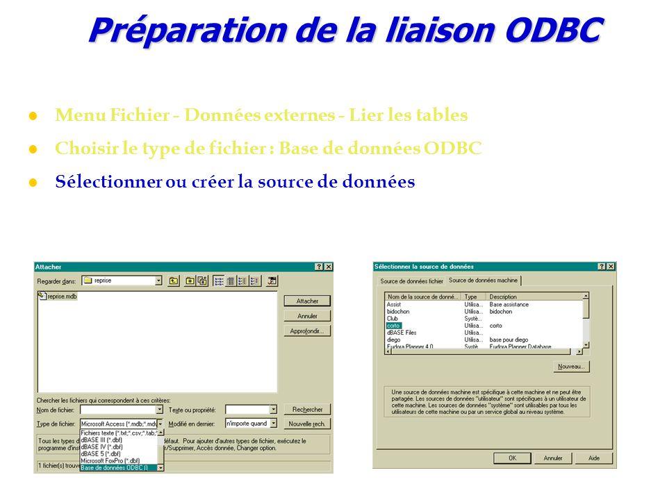 Préparation de la liaison ODBC