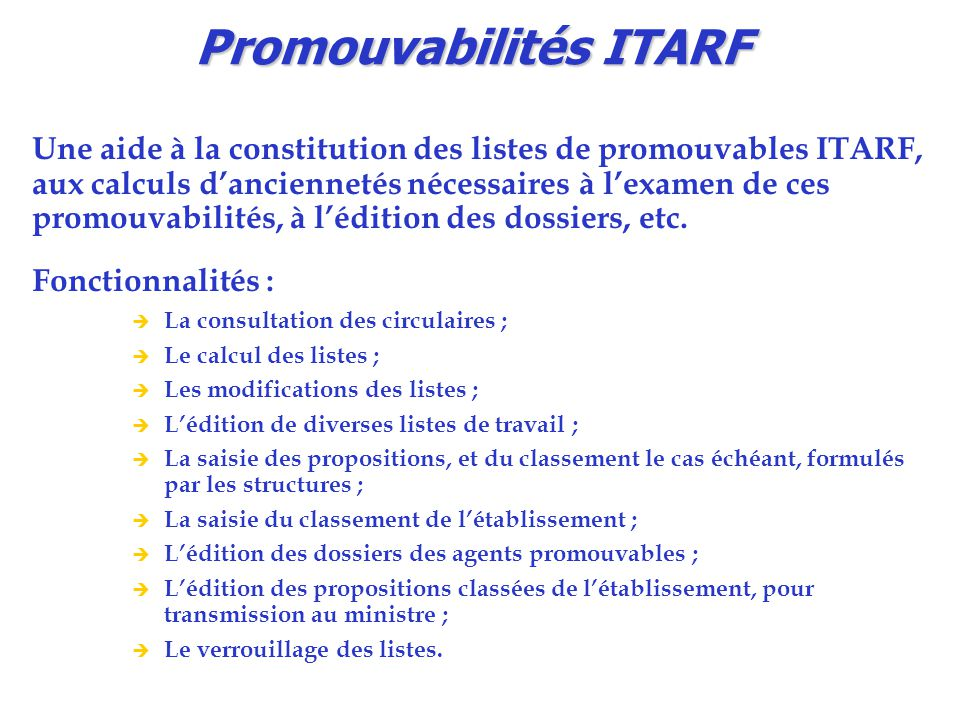 Promouvabilités ITARF
