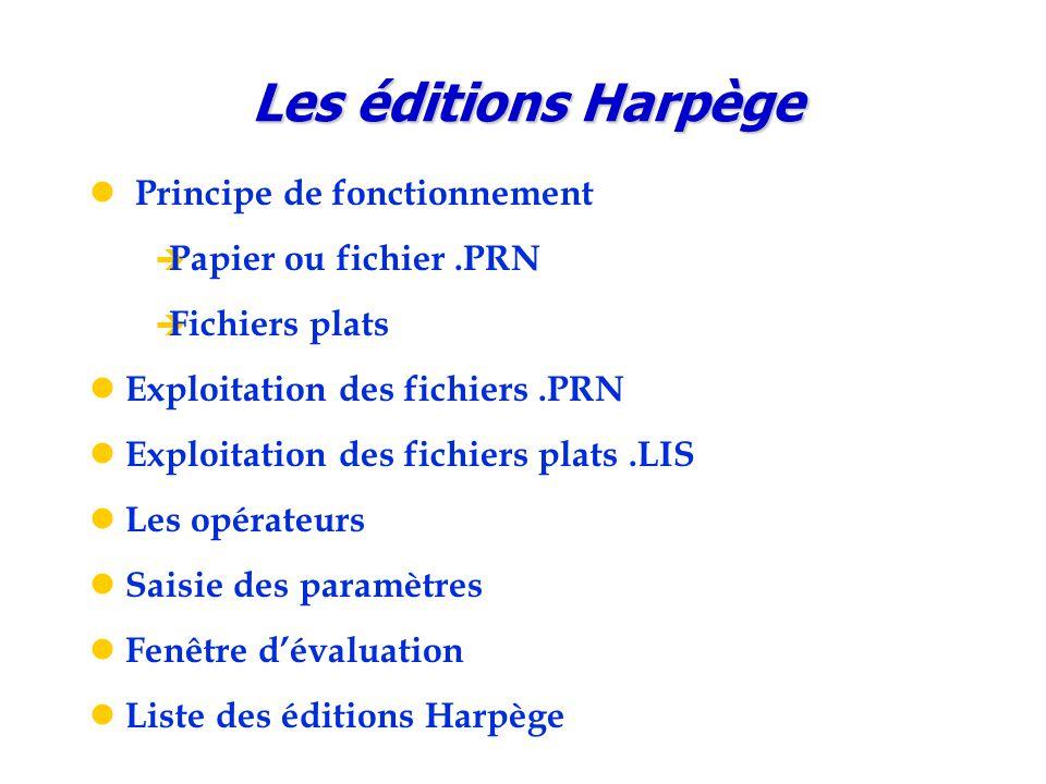 Les éditions Harpège Principe de fonctionnement Papier ou fichier .PRN