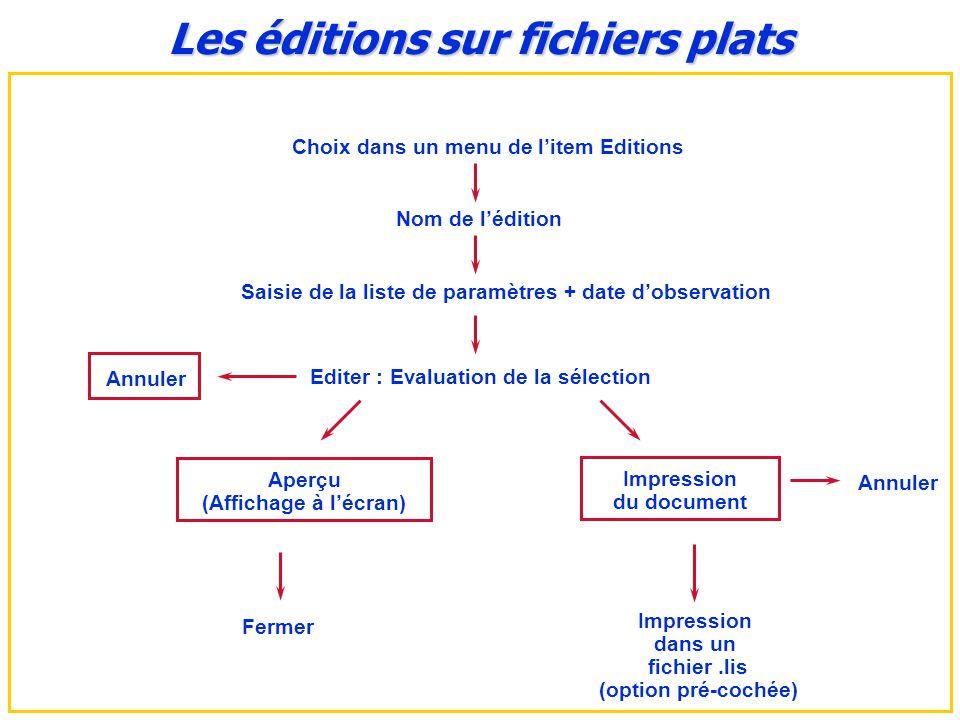 Les éditions sur fichiers plats Choix dans un menu de l'item Editions
