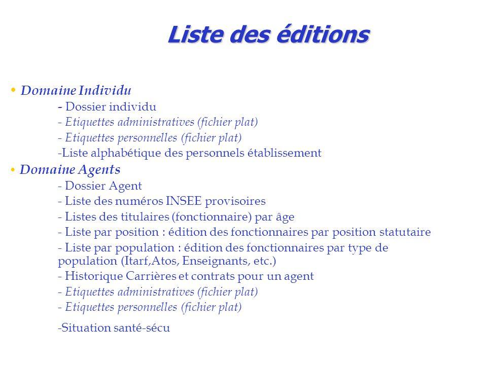 Liste des éditions Domaine Individu - Dossier individu
