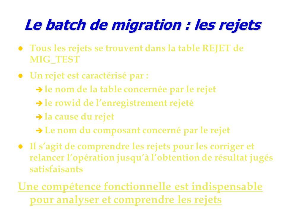 Le batch de migration : les rejets