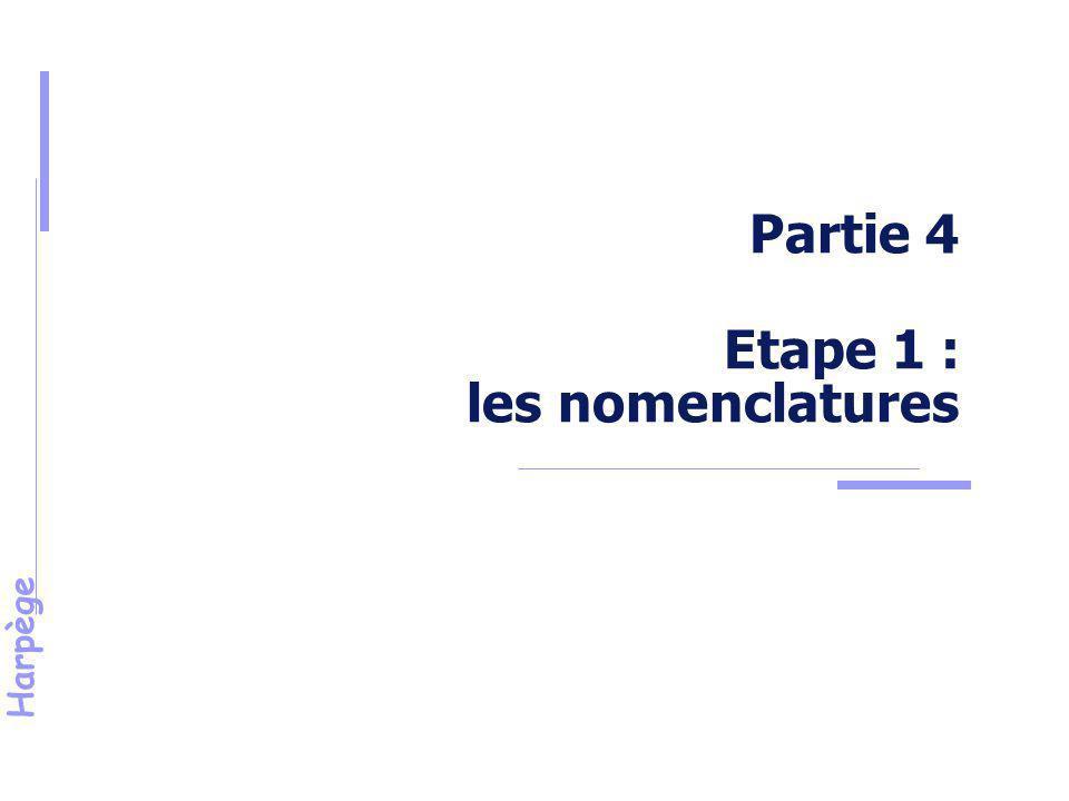 Partie 4 Etape 1 : les nomenclatures