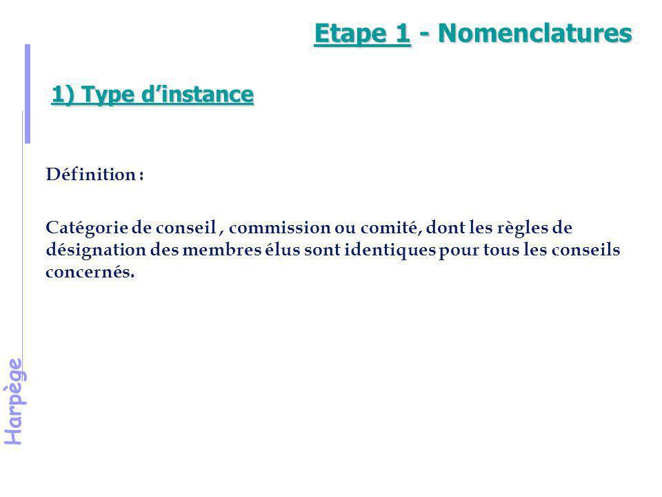 Etape 1 - Nomenclatures 1) Type d'instance Définition :