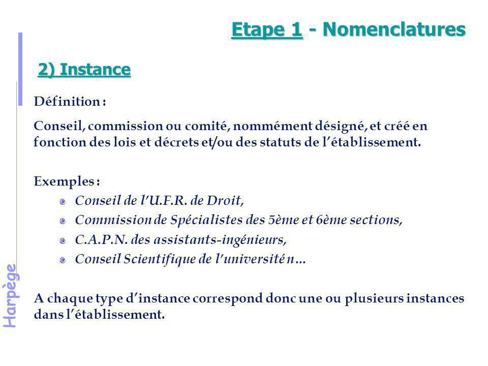 Etape 1 - Nomenclatures 2) Instance Définition :