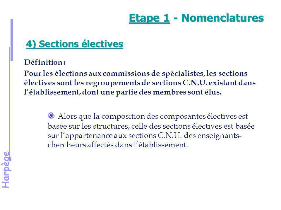 Etape 1 - Nomenclatures 4) Sections électives