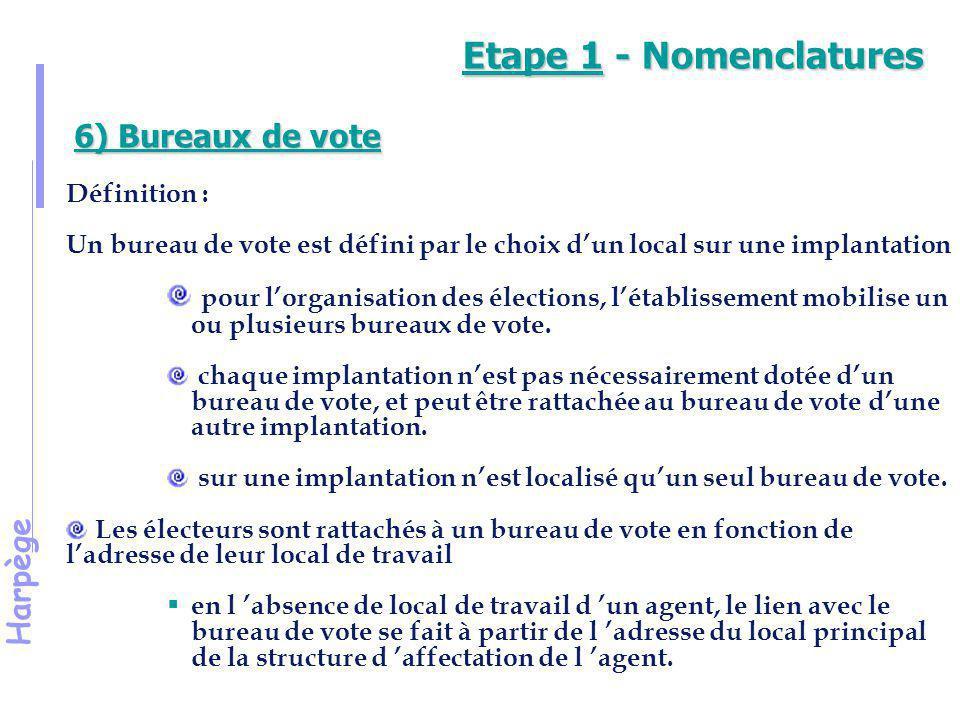 Etape 1 - Nomenclatures 6) Bureaux de vote