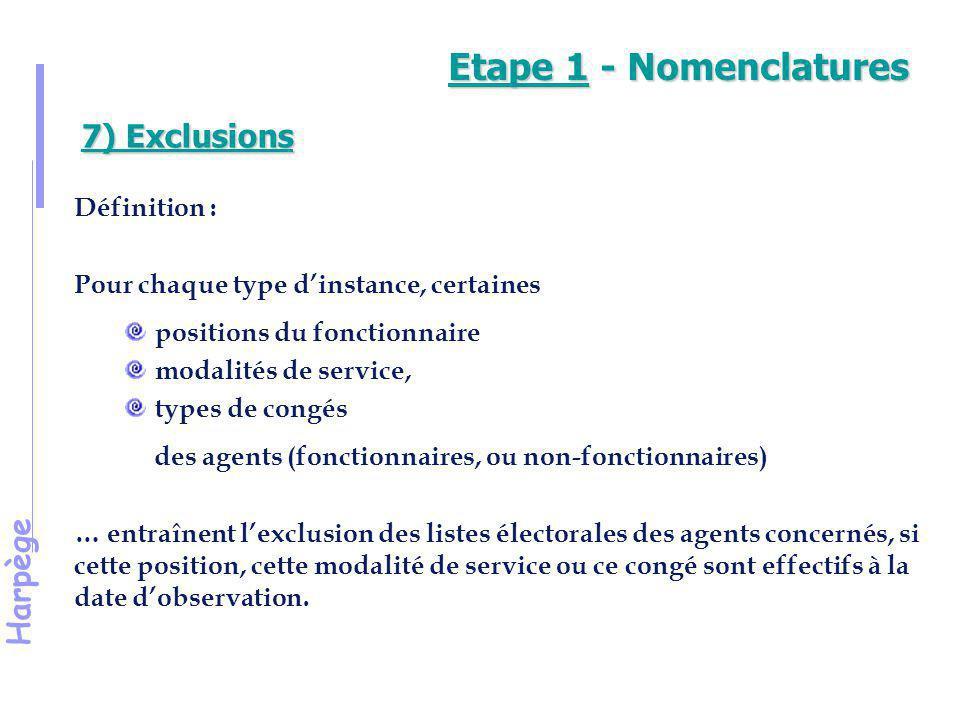 Etape 1 - Nomenclatures 7) Exclusions Définition :