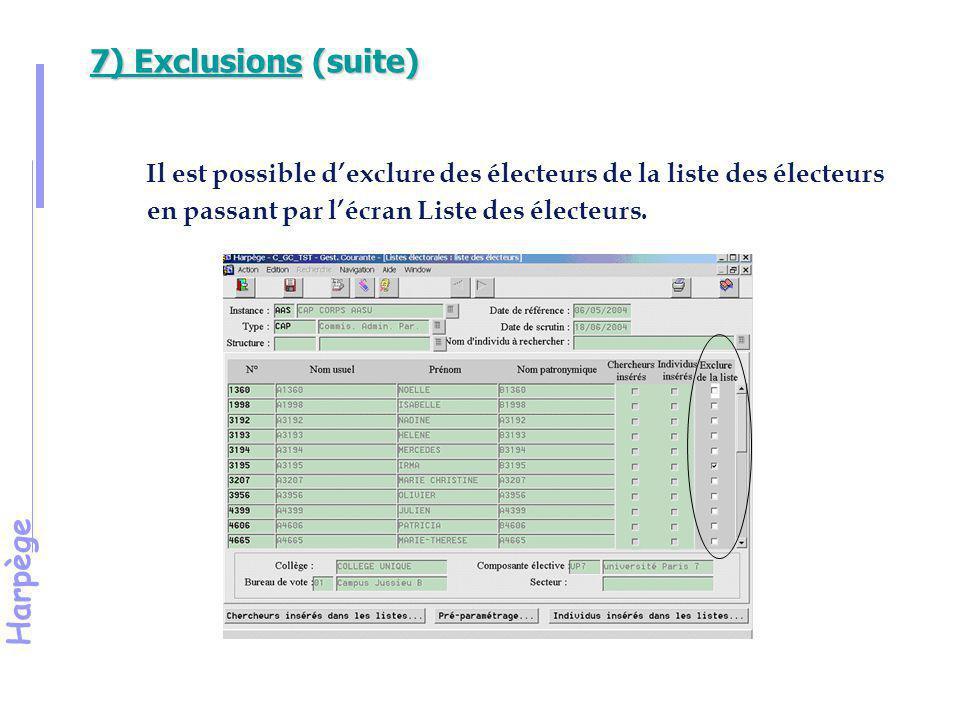 7) Exclusions (suite) Il est possible d'exclure des électeurs de la liste des électeurs en passant par l'écran Liste des électeurs.