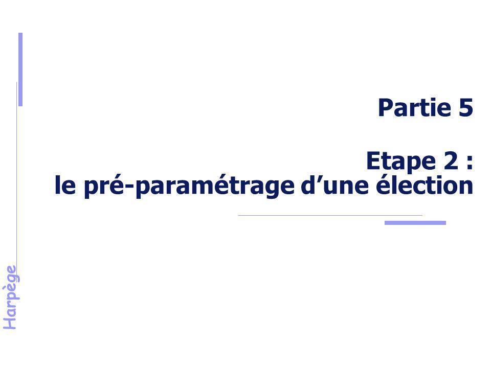 Partie 5 Etape 2 : le pré-paramétrage d'une élection